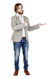 Man presenting or showing something your text or product. human royalty free stock images