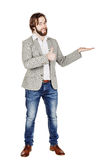 Man presenting or showing something your text or product. human Stock Images