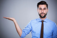 Man presenting something royalty free stock images