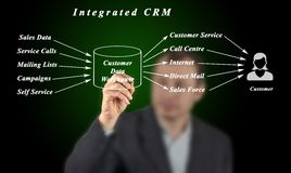 Integrated CRM. Man presenting system of Integrated CRM Royalty Free Stock Photo