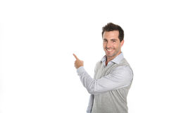 Man presenting text or graphic on white background Royalty Free Stock Images