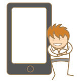 Man presenting via cell phone Stock Photo