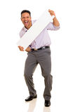 Man presenting white board Royalty Free Stock Photography