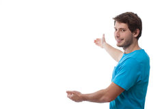 Man presenting white space Stock Photography