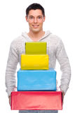 Man with presents Stock Photo