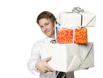 Man with presents Royalty Free Stock Photos