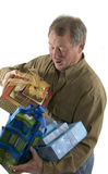 Man with presents gifts Stock Images