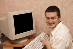 man press ok button Stock Photo