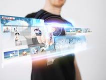 Man pressing button on virtual screen Stock Photography