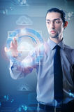 The man pressing buttons in cloud computing concept Royalty Free Stock Image