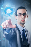The man pressing buttons in cloud computing concept Royalty Free Stock Photos