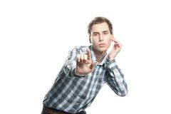 Man pressing buttons over white Royalty Free Stock Photography