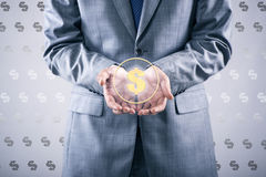 The man pressing dollar sign in finance concept. Man pressing dollar sign in finance concept Stock Images