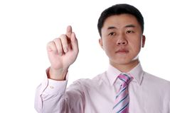 Man pressing or pointing something Royalty Free Stock Photography