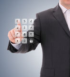 Man pressing the security code royalty free stock photography