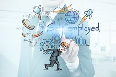 Man pressing self employed virtual screen. Man in suit in blurred office pressing virtual screen with colorful self employed sketch. Concept of startup. Toned stock image