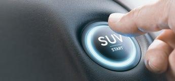 Man Pushing a SUV Start Button stock illustration