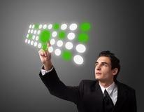 Man pressing a touchscreen button Royalty Free Stock Photos