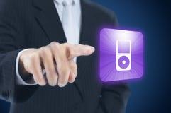 Man pressing touchscreen button Stock Image