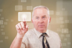 Man pressing a touchscreen button Royalty Free Stock Images