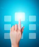 Man pressing a touchscreen button. Business man pressing a touchscreen button Stock Images