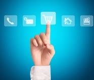 Man pressing a touchscreen button. Business man pressing a touchscreen button Stock Photo
