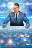 The man pressing virtual button in data mining concept Stock Image