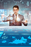 The man pressing virtual button in data mining concept Royalty Free Stock Photography