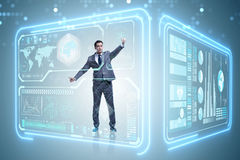 The man pressing virtual button in data mining concept Stock Images