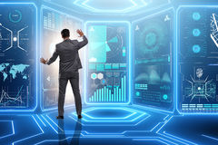 The man pressing virtual button in data mining concept Royalty Free Stock Images