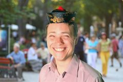 Man pretending to be chinese Royalty Free Stock Photos