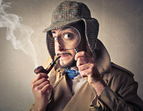 Man pretending to be an investigator Stock Images