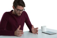 Man pretending to hold an invisible object Stock Photography