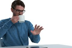 Man pretending to use an invisible screen Stock Photo