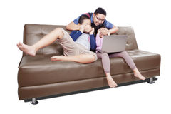 Man prevent his children watching movies Royalty Free Stock Photography