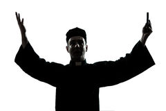 Man priest silhouette blessing Royalty Free Stock Images