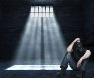 Man in prison. Man with gas mask in 3d prison stock image
