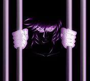 Man in prison. Illustration representing an anger man in prison, in the darkness Stock Photo