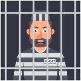 A man in prison. striped prisoner shape. man behind bars. royalty free illustration