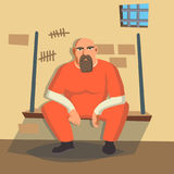 Man In Prison Vector. Bandit Arrested And Locked.  On White Cartoon Character Illustration Royalty Free Stock Photos
