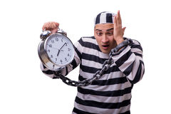 The man prisoner with clock isolated on white Royalty Free Stock Photo