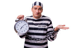 The man prisoner with clock  on white Royalty Free Stock Images