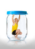 Man Prisoner in a Jar Stock Photos