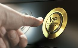 VIP Access. Asking for Premium Services. Man with private access to VIP services pressing a button to ask a concierge. Composite image between a hand photography Stock Photography