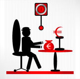 Man with prize. On chair Royalty Free Stock Images