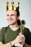 Man with prize Stock Image