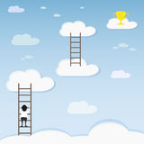 Man and prize. Businessman and the prize on the clouds, illustration Stock Photos