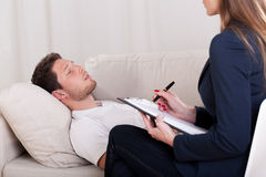Man with problems during therapy Royalty Free Stock Images