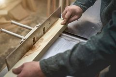 The man processes bar from a light tree on the jointer plane. Furniture production Stock Photo