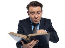 Man professsor teacher teaching reading ancient book Stock Image